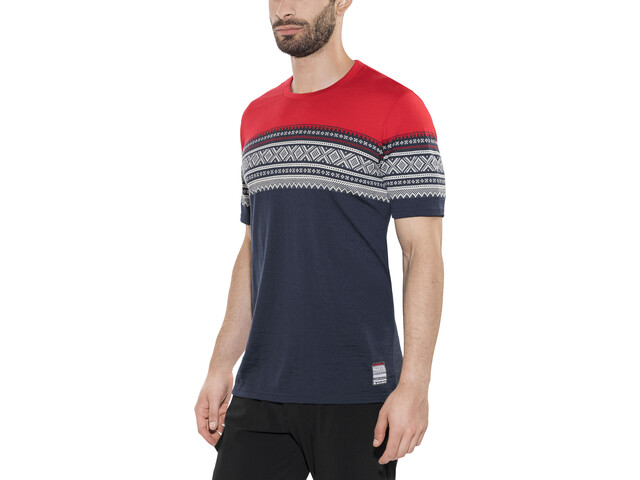 Aclima DesignWool Marius t-shirt Heren rood/blauw